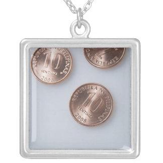 Ten Centavo (3) Square Pendant Necklace