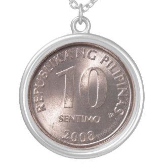 Ten Centavo Round Pendant Necklace