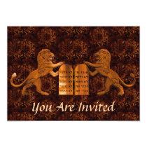 Ten Commandments and Lions Bar/Bat Mitzvah Card
