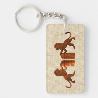 Ten Commandments and Lions Single-Sided Rectangular Acrylic Keychain