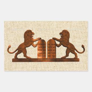 Ten Commandments and Lions Rectangular Sticker