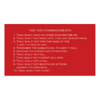 Ten Commandments card with customizable back Double-Sided Standard Business Cards (Pack Of 100)