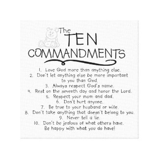 Ten Commandments for Kids Childrens Church Canvas Print
