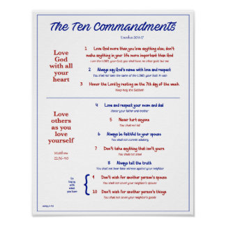 Ten Commandments for Kids--Navy/Red w/ border Poster