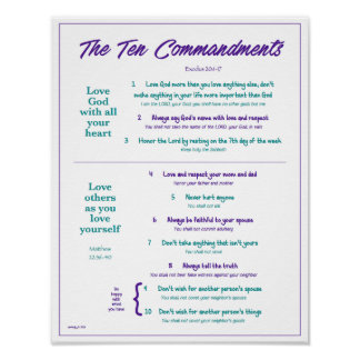 Ten Commandments for Kids--Purple/Teal 2 w/border Poster