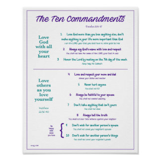 Ten Commandments for Kids--Purple/Teal w/ border Poster