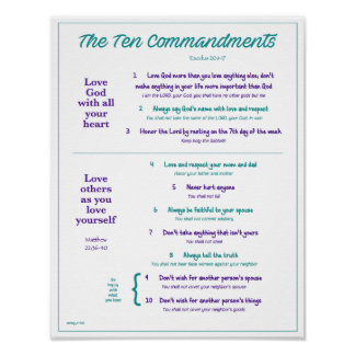 Ten Commandments for Kids--Teal/Purple w/border Poster