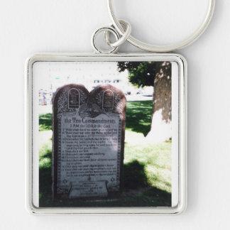 Ten Commandments Silver-Colored Square Keychain