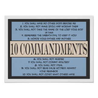 Ten Commandments of the Bible Poster