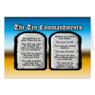 Ten Commandments of the Holy Bible, God's Law Greeting Cards
