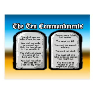 Ten Commandments of the Holy Bible, God's Law Post Cards