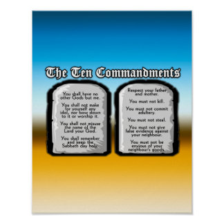 Ten Commandments of the Holy Bible, God's Law Poster