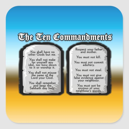 Ten Commandments of the Holy Bible, God's Law Stickers