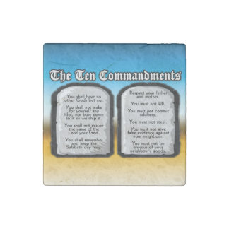 Ten Commandments of the Holy Bible, God's Law Stone Magnet