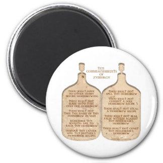 Ten Commandments of Zymurgy 2 Inch Round Magnet