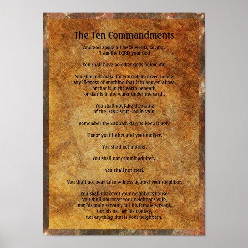 Ten Commandments on Stone Background Poster