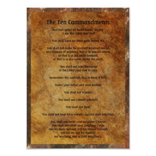 Ten Commandments On Stone Background Poster  Ee  F Designed For Youby Western Spirit Designs