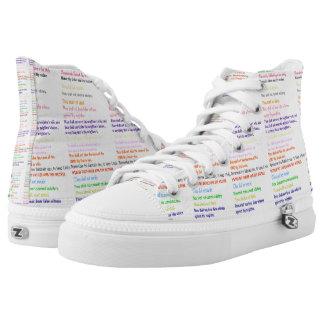 Ten Commandments Religious Hi-Top Printed Shoes