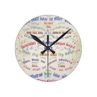 Ten Commandments Round Clock