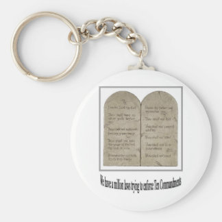 Ten Commandments with Quote Keychain