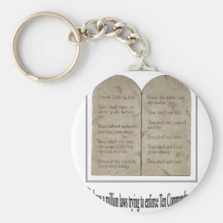 Ten Commandments with Quote Basic Round Button Keychain