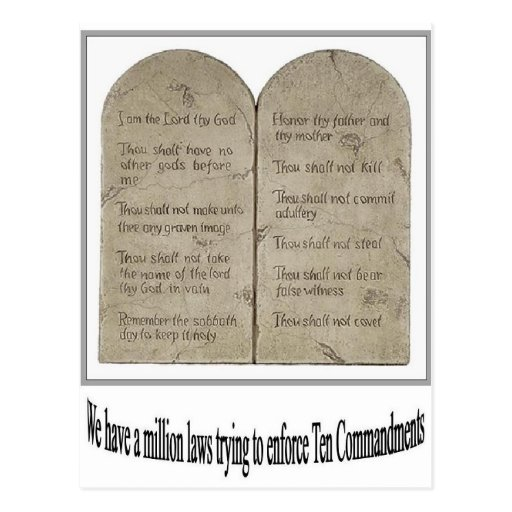 Ten Commandments with Quote Postcard