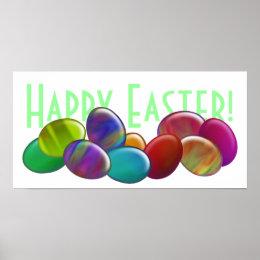 Ten Easter Eggs Rainbow Poster