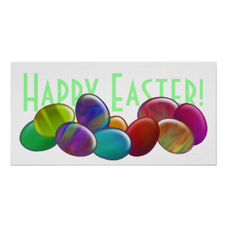 Ten Easter Eggs Rainbow Posters