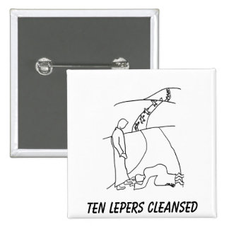 Ten Lepers Cleansed, Remember Jesus 2 Inch Square Button