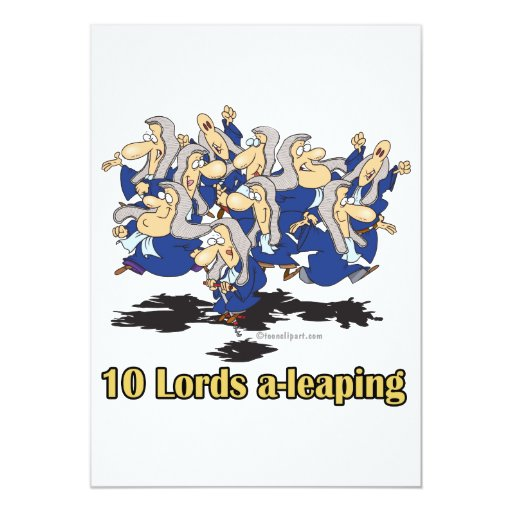 ten lords a-leaping 10th tenth day of christmas 5x7 paper invitation card