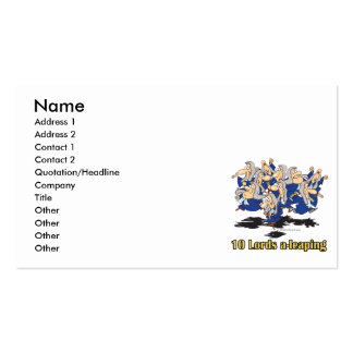 ten lords a-leaping 10th tenth day of christmas business card templates