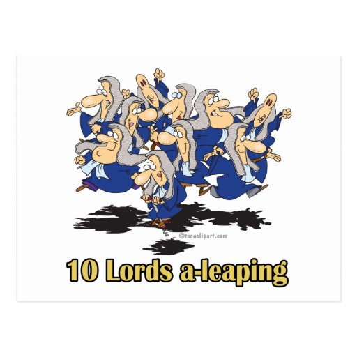 ten lords a-leaping 10th tenth day of christmas post cards
