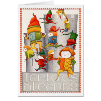 Ten Lords a Leaping Blank Greeting Card