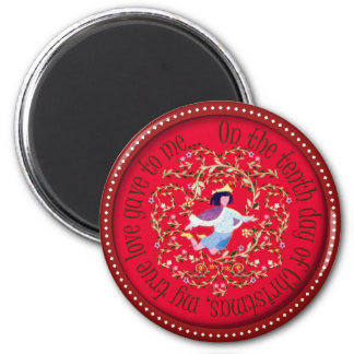 Ten lords aleaping 2 inch round magnet