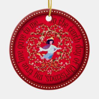 Ten lords aleaping ceramic ornament