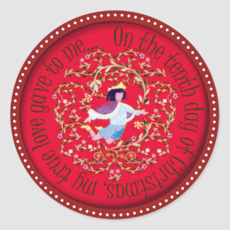 Ten lords aleaping classic round sticker
