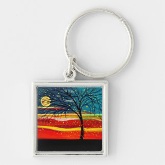 """""""Ten Million Fireflies"""" by Linda Powell~Original Silver-Colored Square Keychain"""