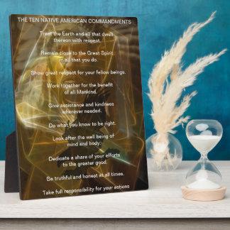 Ten Native American Indian Commandments Plaque