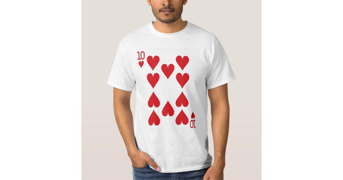 Ten Of Hearts Playing Card T Shirt Zazzle Com