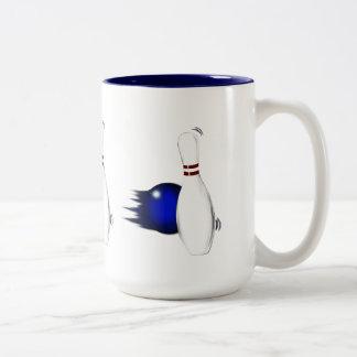 Ten or Five Pin Bowling Pin and Ball Sport Design Two-Tone Coffee Mug