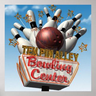 Ten Pin Alley Bowling Retro Neon Sign