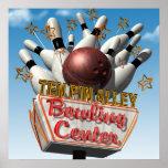 Ten Pin Alley Bowling Retro Neon Sign Poster