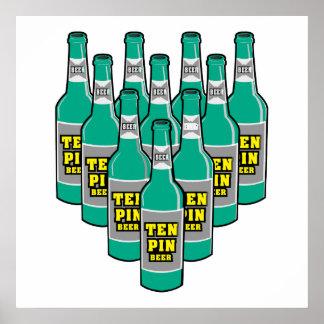 ten pin beer bowling humor print