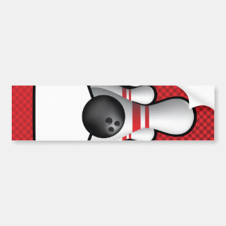 ten pin bolwing background design with scroll bumper sticker