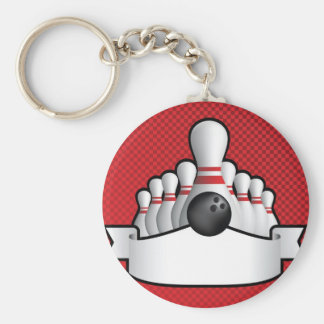 ten pin bolwing background design with scroll keychain