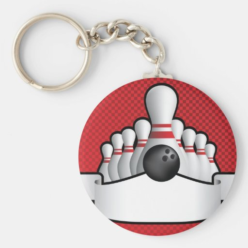 ten pin bolwing background design with scroll key chain