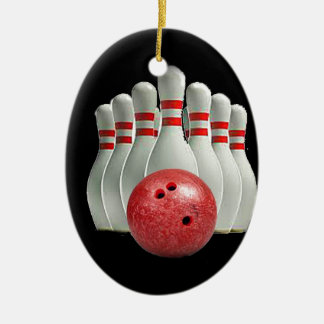 """""""Ten pin bowling 2"""" design gifts and products Double-Sided Oval Ceramic Christmas Ornament"""
