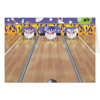 Ten Pin Bowling Alley Card