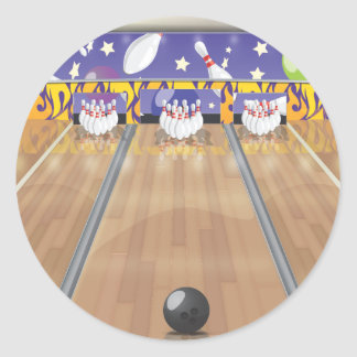 Ten Pin Bowling Alley Classic Round Sticker