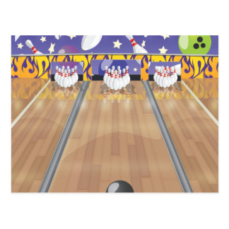 Ten Pin Bowling Alley Postcard